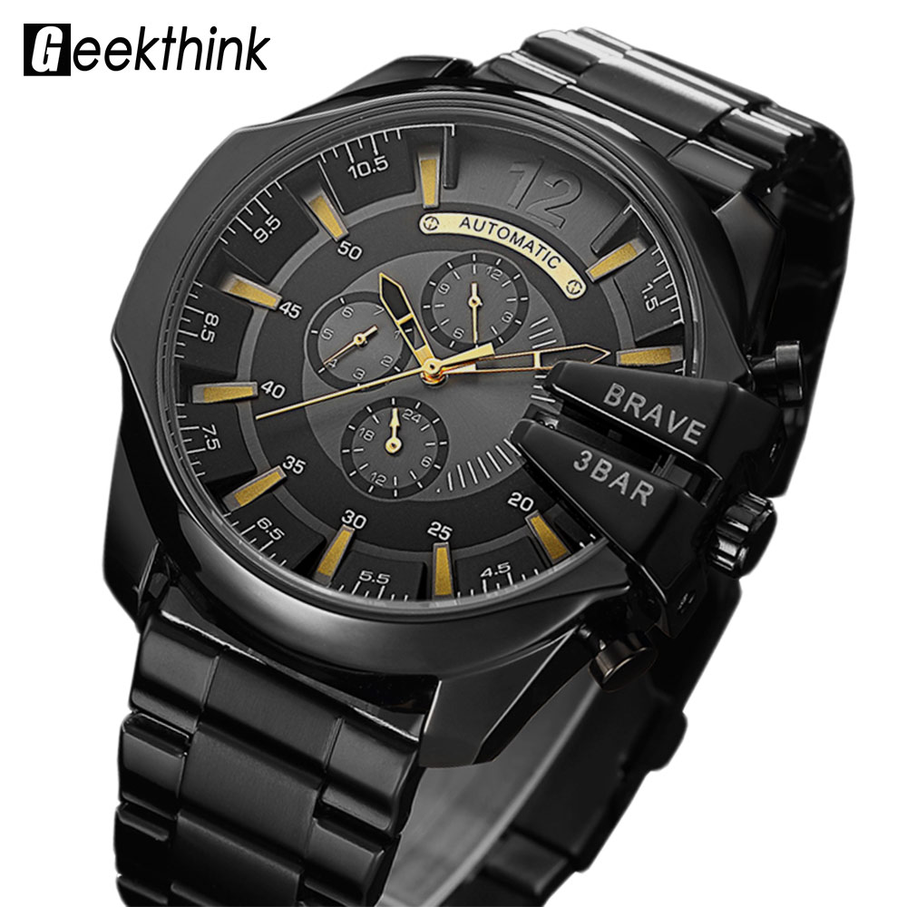 Top Luxury Brand Automatic Mechanical Watch Men's Self wind Wrist watch Stainless Steel Fashion Sports Clock Male Steampunk New kinyued brand men self wind waterproof stainless steel strap automatic mechanical male black dial fashion tourbillon watch