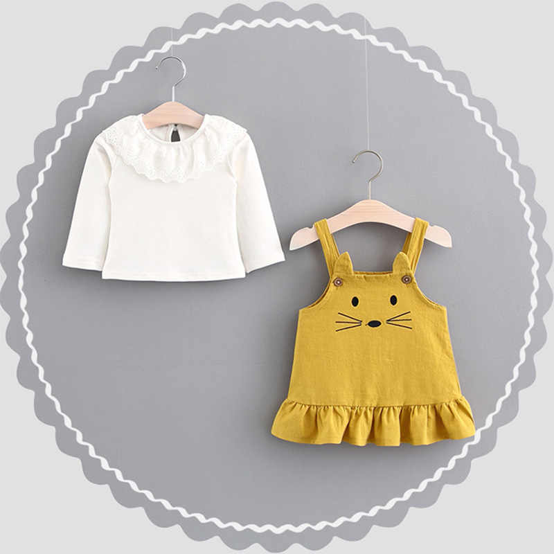 ba11b486d4c5a 3T Baby Girls Cute Mouse Cartoon White Lapel Shirt Straight Harness Dress  Children Fall Warm Clothes Princess's Dress