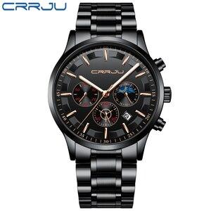 Image 2 - Crrju男性ステンレス鋼クォーツ防水時計多機能クロノグラフ日付表示腕時計黒レロジオ