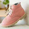 2016 Toddlers Girls Shoes British Brogues Lace-up Boots Genuine Leather Girls Boots Zipper Children Shoes Ankle Boots