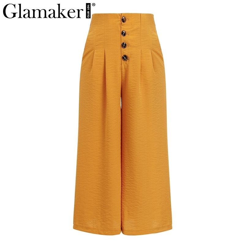 Glamaker Yellow slim button sweatpants sexy   pants   Women casual wide leg winter   pants     capri   Party elegant club bottoms trousers
