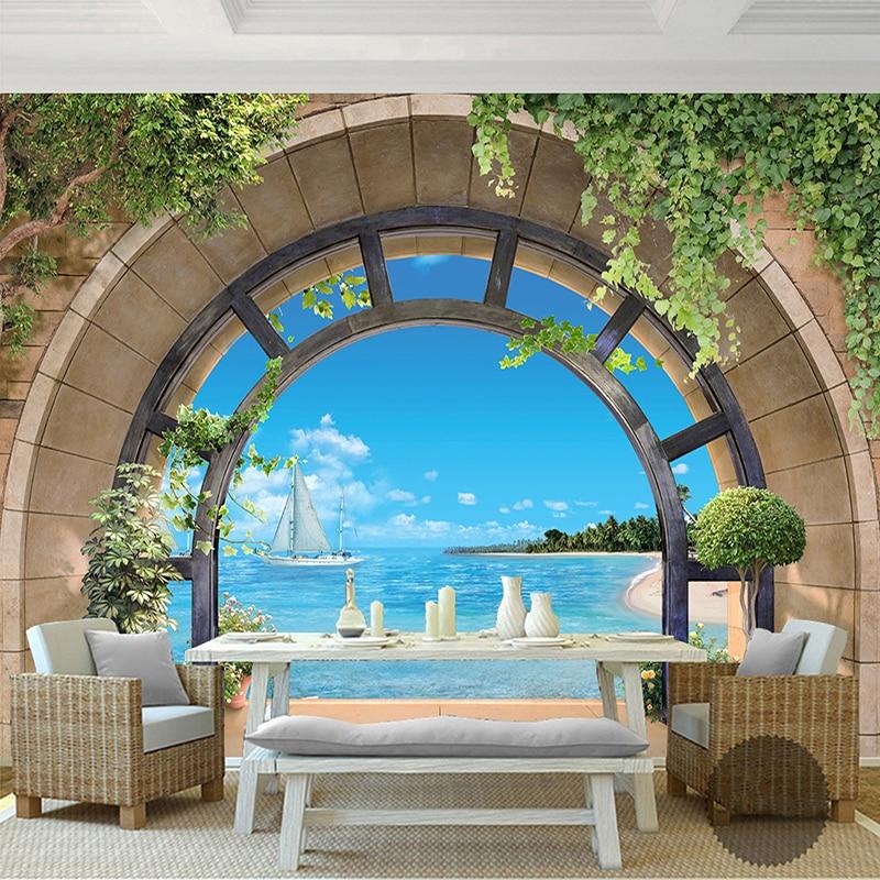 European Style Balcony Seaside Landscape 3D Wall Mural Wallpaper Living Room Sofa Bedroom Backdrop Wall Fresco Papel De Parede