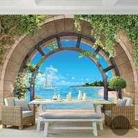 Mural De pared 3D con paisaje costero y balcón De estilo europeo, Papel tapiz para sala, sofá, dormitorio, Fondo De pared, Papel De pared con Fresco