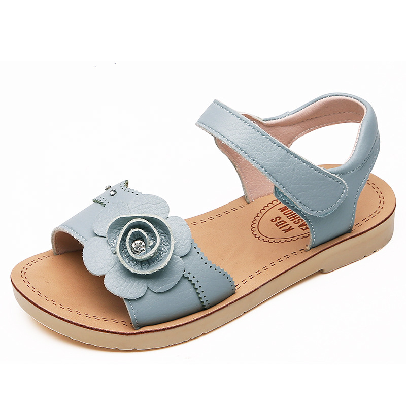 ULKNN Blue summer beach sandalies for Girls new soft bottom baby open toe beach shoes big children princess shoes size 21-37ULKNN Blue summer beach sandalies for Girls new soft bottom baby open toe beach shoes big children princess shoes size 21-37