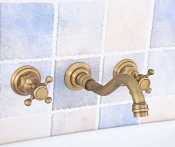 3 pcs Antique Brass Wall Mounted Bathroom Mixer Tap Bath Basin Sink Vanity Faucet Water Tap Bath Faucets zsf527