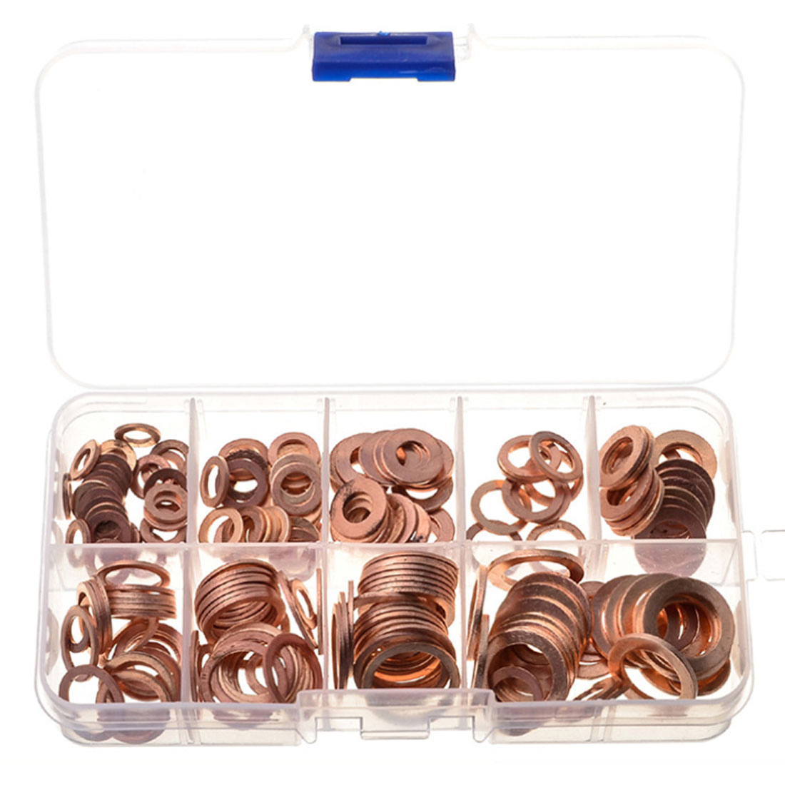 For Hardware Accessories 200pcs/pack Assorted Copper Washer Gasket Sealing Ring Sump Plug Kit M5-m14 With Box Bracing Up The Whole System And Strengthening It Washers