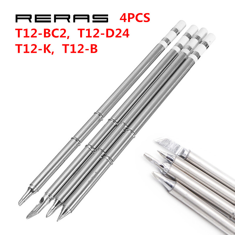 4pcs T12-K T12-B T12-BC2 T12-D24 Soldering Iron Tips T12 series for Hakko Soldering Rework Station FX-951 FX-952 Tools Kit Set