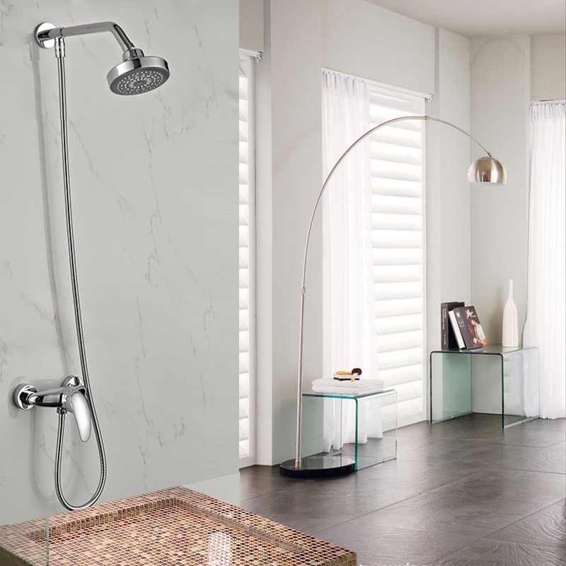 Wholesale and Retail Shower Faucet Chrome Finish 4 Shower Head Wall Mounted wholesale and retail chrome finish bathroom wall mounted basin sink countertop faucet