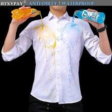 Mannen Waterdicht Anti Vuile Gratis strijken Business Shirts Hydrofobe Stainproof Antifouling Snel Droog Top Lange Mouw M 5XL