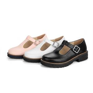 Image 2 - 2020 Shoes Women Round Toe Spring Pumps new Chunky High Heels Mary Jane Causal Ladies Shoes Thick Heels White Pink Black 34 43
