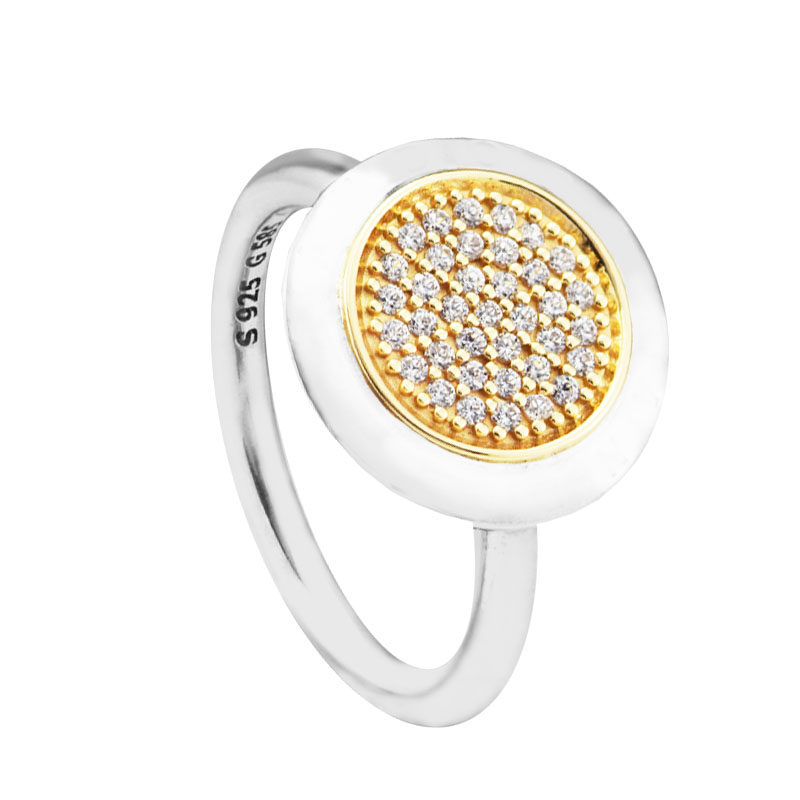 Signature Ring 14K Real Gold 100 925 Sterling Silver Jewelry Two Tone Rings for Women anillos