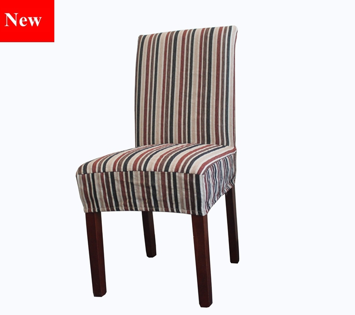 high quality chenille stripe fabric dining chair covers customized