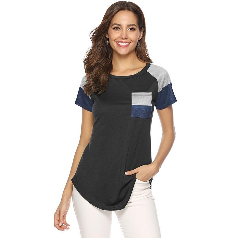 Gepäck & Taschen T Shirt Frauen 2019 Neue Sommer Stil Tasche Oansatz Kurz-hülse Patchwork Lose Top Shirt Frauen Plus Größe M190406
