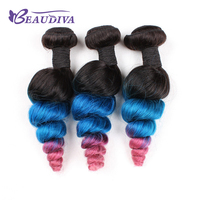 BEAUDIVA Pre Colored Loose Wave 3 Bundles Remy Human Hair Weave Hair Bundles Ombre Blue Pink Hair Hair Extensions