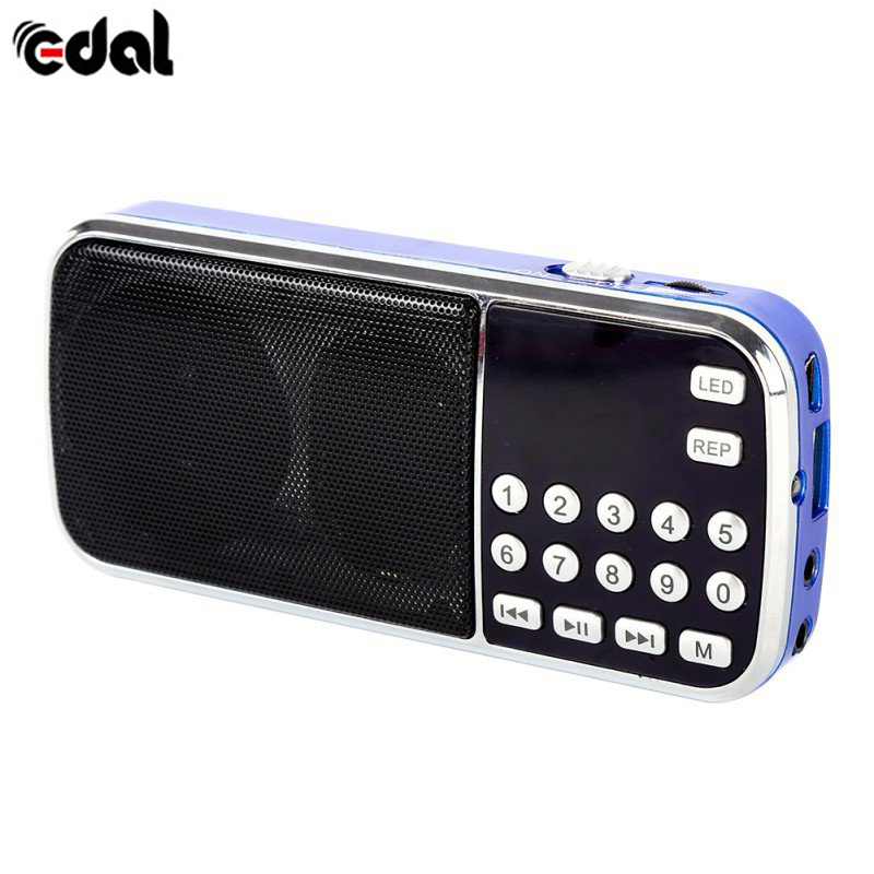 EDAL Mini Portable Digital Stereo FM Speaker Music Player with TF Card USB AUX Input Sound Box