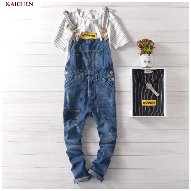 2016 New Brand Casual Denim Overalls Blue Ripped Jeans Pockets Men's Bib Jeans Boyfriend Jeans Jumpsuits Male Suspenders new male suspenders new casual light blue denim overalls ripped jeans pockets men s bib jeans boyfriend jumpsuits