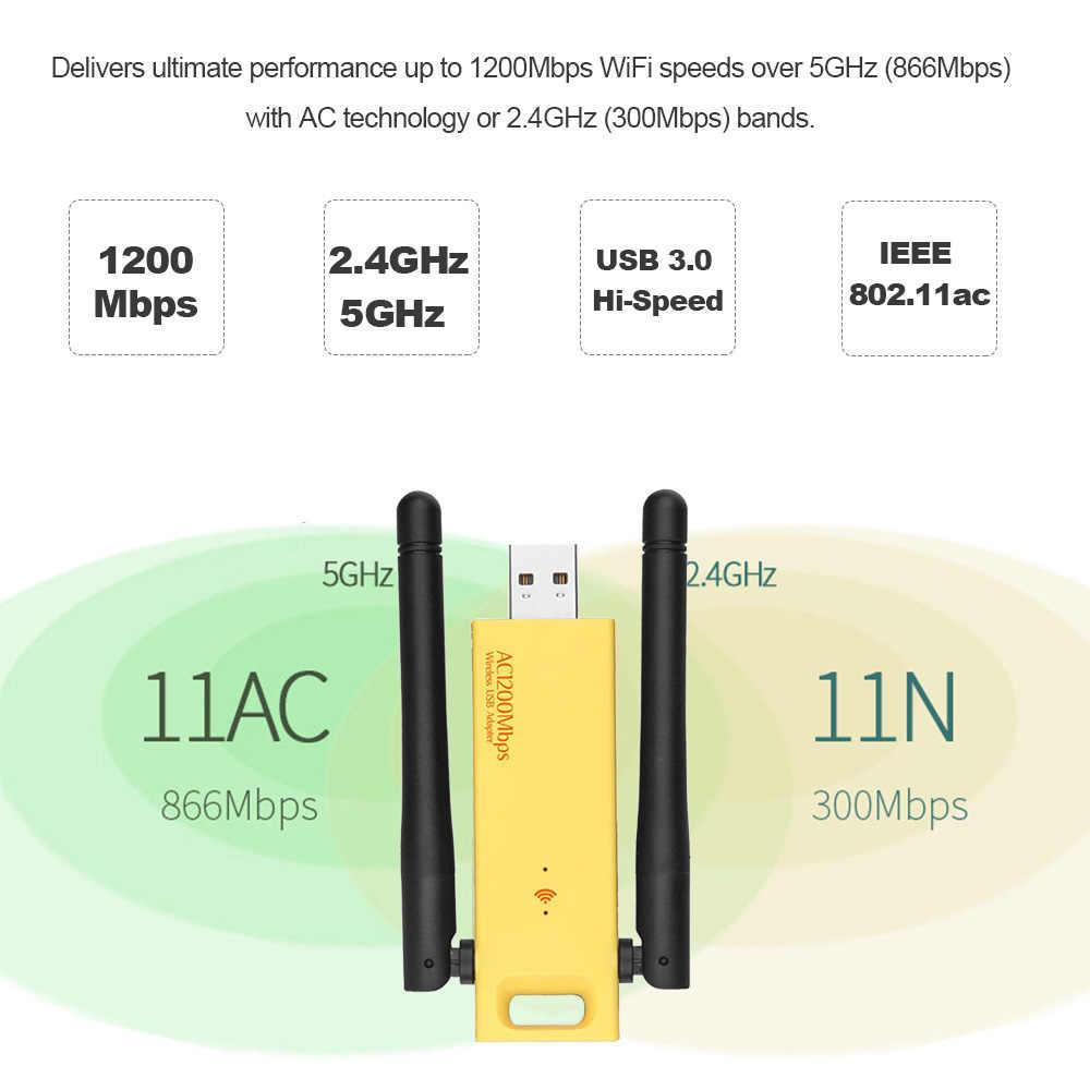 USB3.0 AC 1200 Mbps inalámbrico de doble banda adaptador USB adaptador de red inalámbrica WiFi 2,4/5,0 GHz antena Etherne para escritorio del ordenador portátil