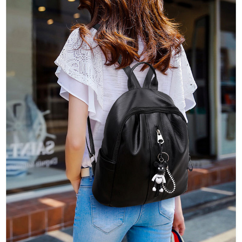 Fashion Women Leather Backpack Female Backpacks for Girls Soft Casual Black Back Bag Solid Back Pack Lady 2018