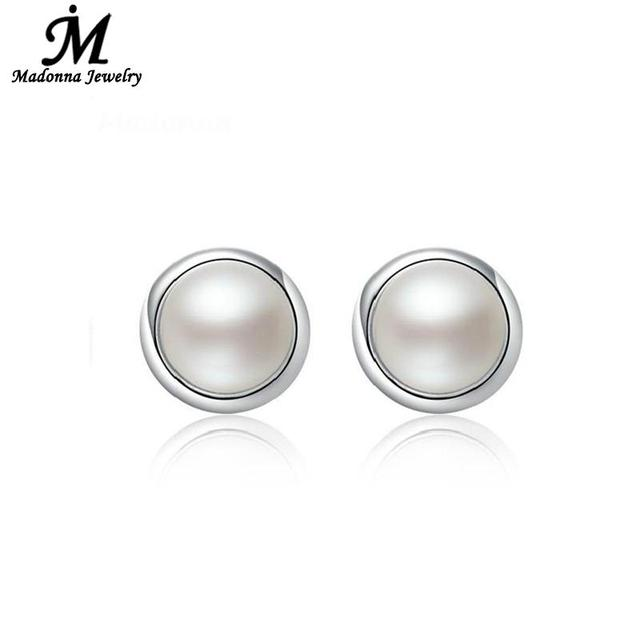 2018 New Simple Fashion Circular Design Women Stud Earrings Artificial Pearl Silver Plated Round Ear