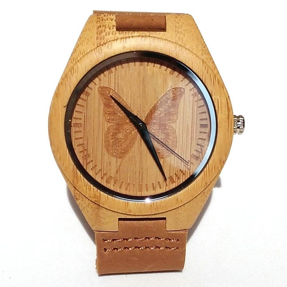 Bambu Trä Klockor För Män Kvinnor Quartz Analog Casual - Damklockor - Foto 1
