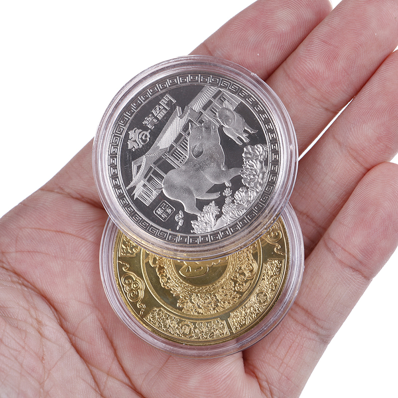 The year of the pig gold Chinese zodiac 2019 anniversary coins souvenir coinsS!