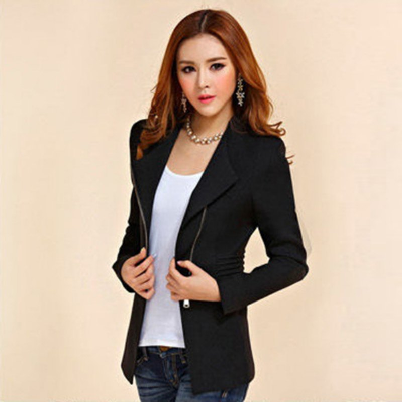 Female Fashion Zipper Suit Women Long Sleeve Coat Solid Suit Jacket Blazer Tops ...