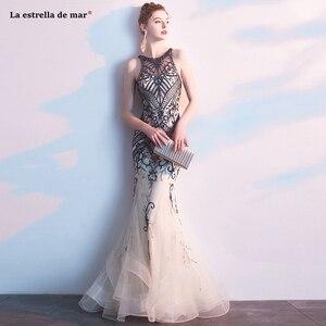 Image 1 - Abendkleider lang, новинка, тюль, кристалл, роскошное шампанское, сексуальное, Русалка, турецкое вечернее платье, роскошное, vestido longo festa noite custo