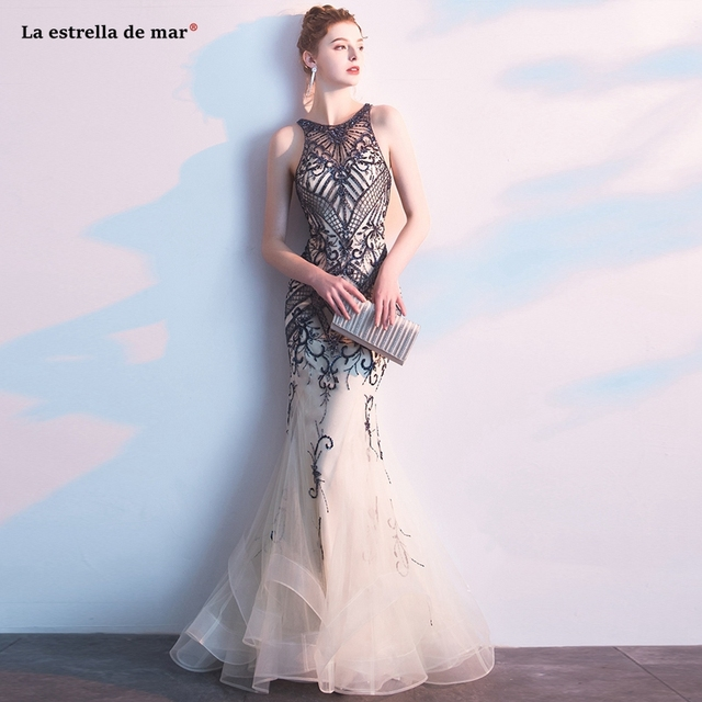 Abendkleider lang, новинка, тюль, кристалл, роскошное шампанское, сексуальное, Русалка, турецкое вечернее платье, роскошное, vestido longo festa noite custo