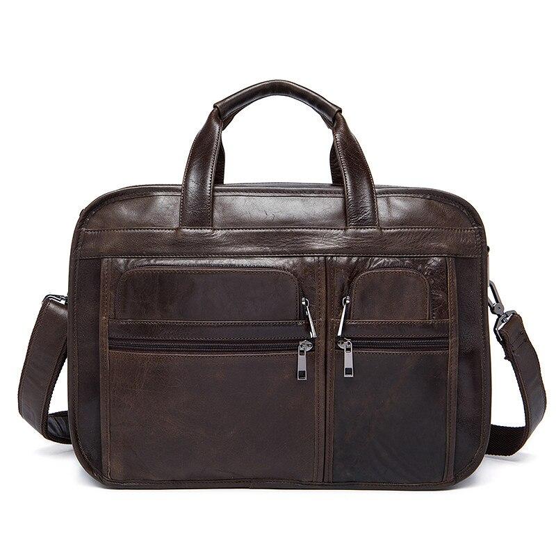 Male Briefcases Genuine Leather Men Laptop Bag Business Messenger Bags Men Shoulder Bag For Men Leather Documents Handbag New