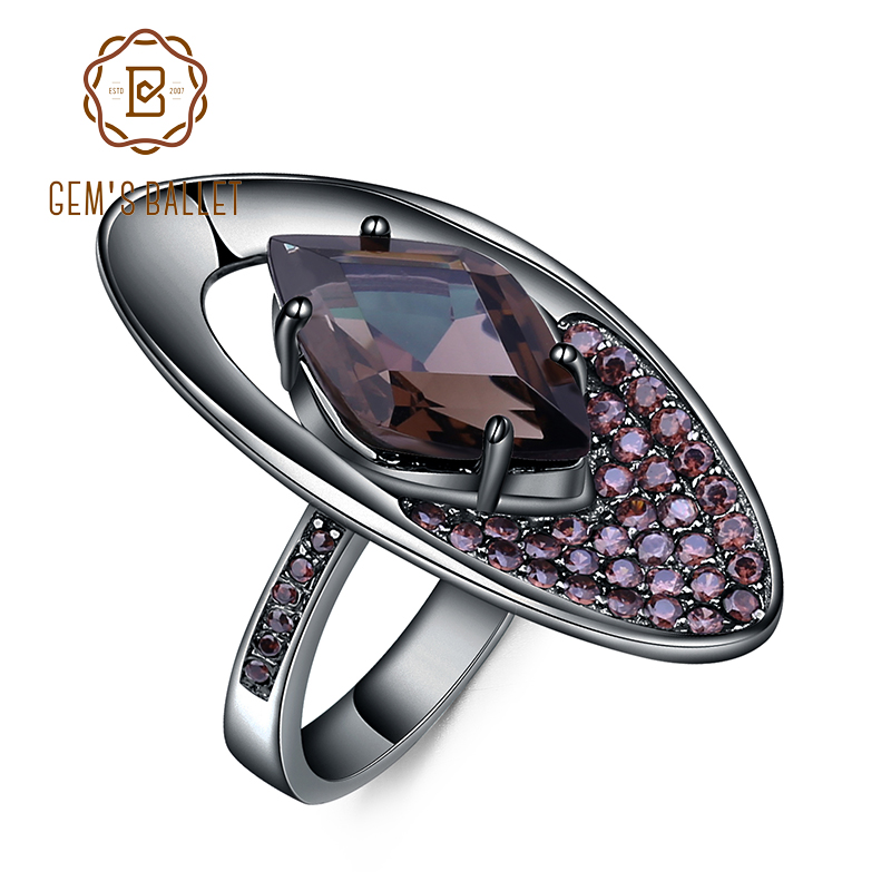 GEM S BALLET Natural Smoky Quartz Gemstone Finger Ring 925 Sterling Sliver Vintage Gothic Rings For