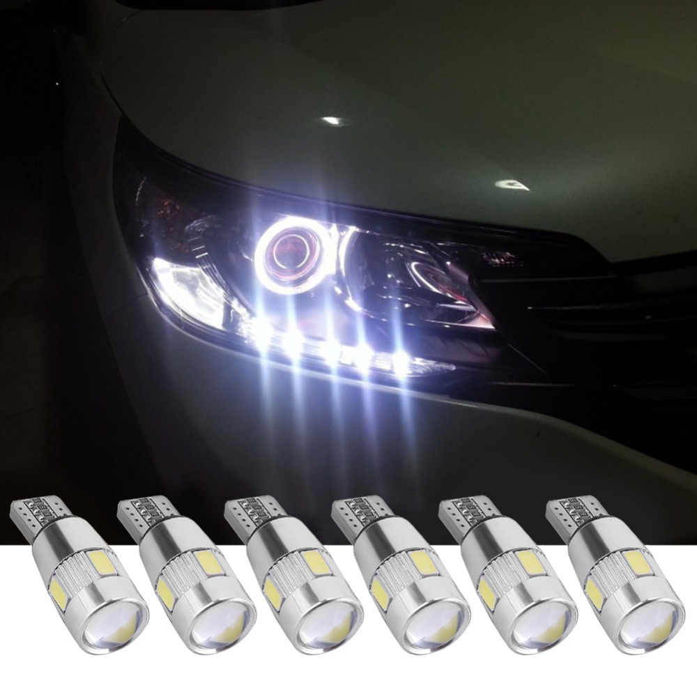 2/4/6Pcs Car LED Lights Canbus T10 5630 6SMD Decoding W5W Width Light Auto Light-emitting Diode Wedge Light Parking Lamp Bulb