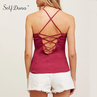 Self Duna 2017 Summer Women Lace Up Tank Backless Bodycon White Black Red Yellow Green Off