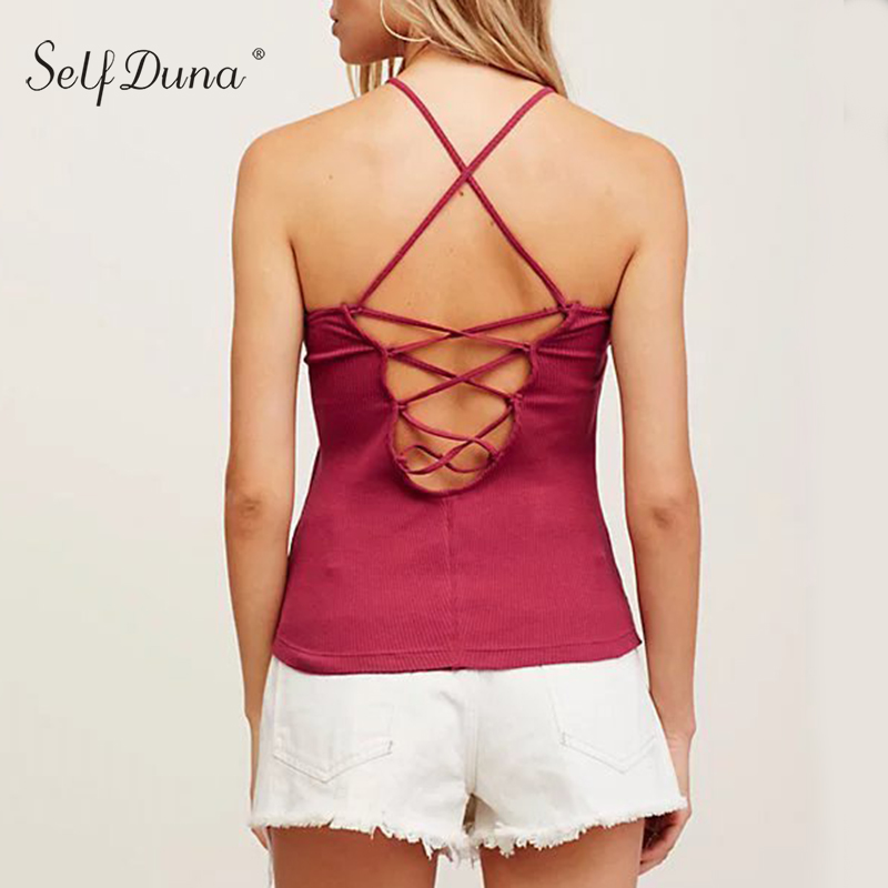 Self Duna 2017 Summer Women Lace Up Tank Backless Bodycon White Black Red Yellow Green Off Shoulder Sexy Female Camis Tank Top