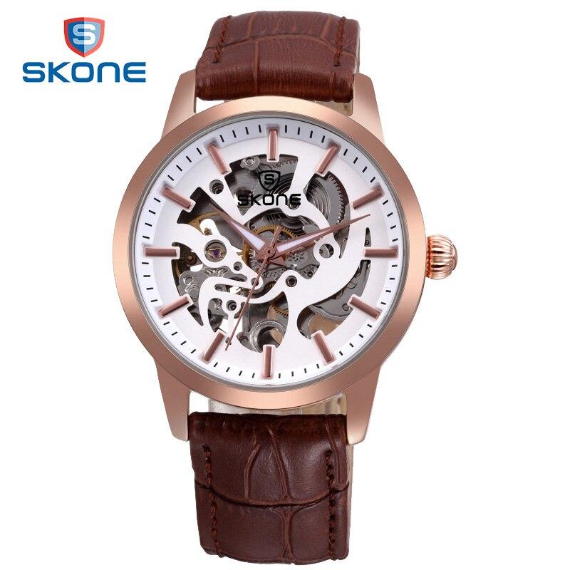 ФОТО SKONE Rose Gold Automatic Watch Men Skeleton Dial Otomatik Erkek Kol Saati Genuine Leather Band Relogio Automatico Masculino