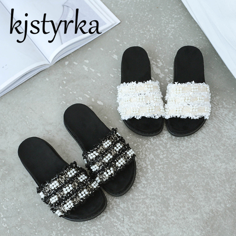 56ecca82715941 Kjstyrka Brand Elegant Women Slippers Summer Pearl Bead Flat Heel Fashion Modern  Slippers Ladies Slides 2018 New Desigern-in Slippers from Shoes on ...