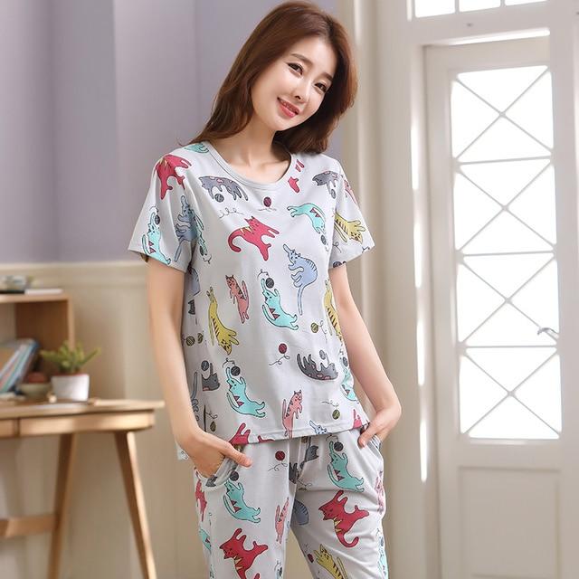 women pajamas sets big size 100% cotton short sleeve nightwear animal pyjamas lady summer sleepwear M L XL XXL XXXL 4XL 5XL