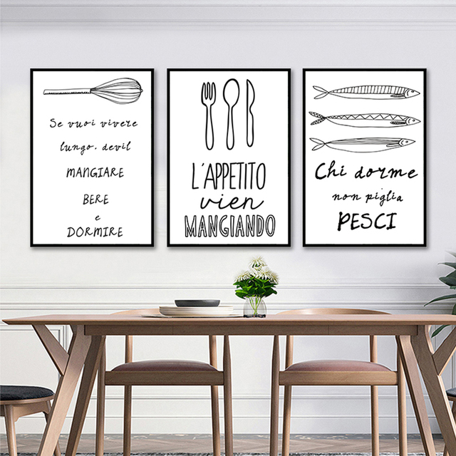 WANGART Modern Black White Food Coffee Quotes Canvas Pictures Wall on