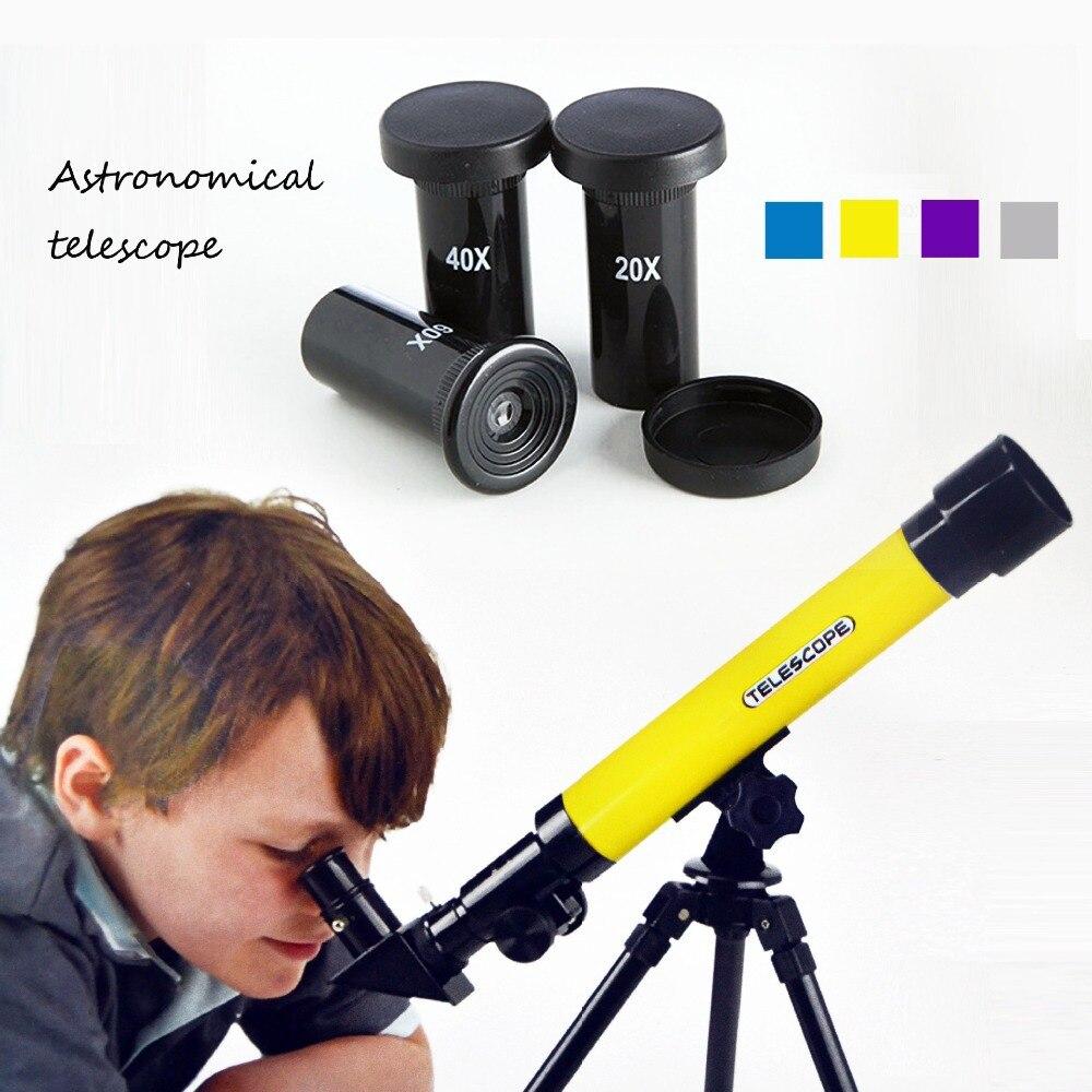 En plein air coloré explorer L'espace Monoculaire trois eyelens Télescope Astronomique Avec Trépied Portable Lunette enfants utiliser jouet