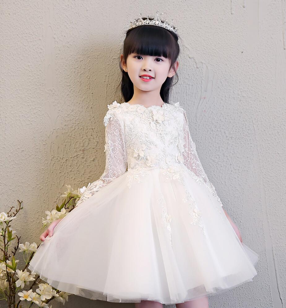 Beaded Appliques Tulle Flower Girl Dresses Long Sleeve Kids Formal Birthday Wedding Gown First Communion Dress