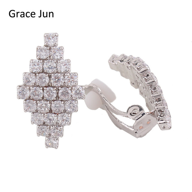 Grace Jun High Quality Aaa Cubic Zircon Copper Material Clip On Earring Without Piercing For Sl