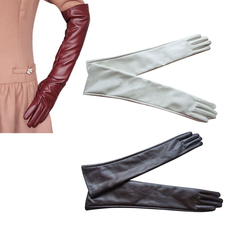 Women Long Genuine Leather Touch Screen Winter Elbow Opera Evening Gloves