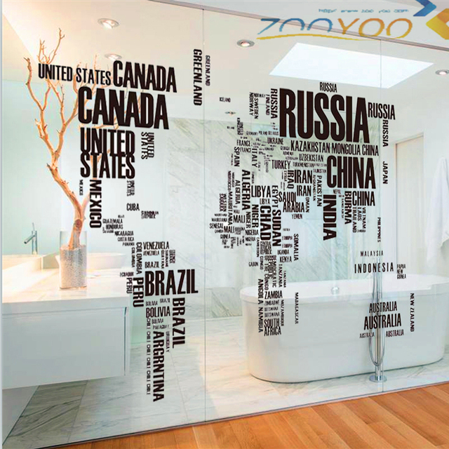 Black World Map Words Wall Stickers Home Decor Living Room Office Kids Room  Diy 60*