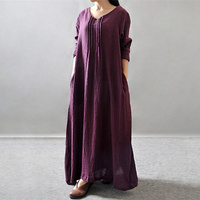 Casual Dresses 2016 Spirng Summer Long Loose Women Dress Vintage Cotton Linen Long Sleeve V Neck