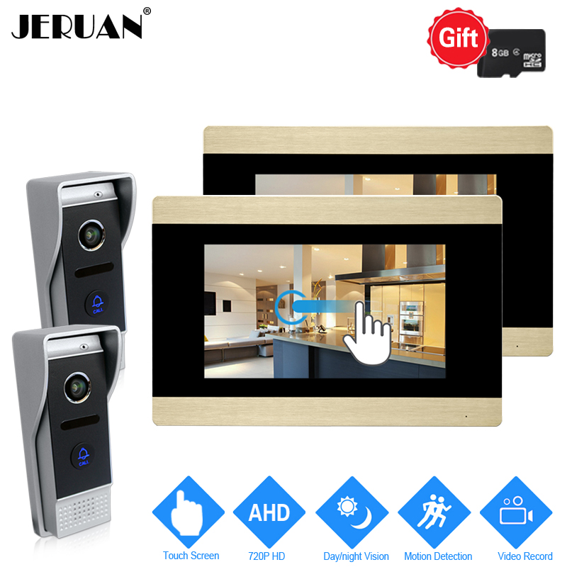 JERUAN 720P AHD Motion Detection 7`` Touch Screen Video Door Phone Intercom System 2 Record Monitor +2 HD 110 degree Camera 2V2 jeruan 720p ahd motion detection 7 touch screen video door phone doorbell intercom system 2 record monitor hd ir mini camera