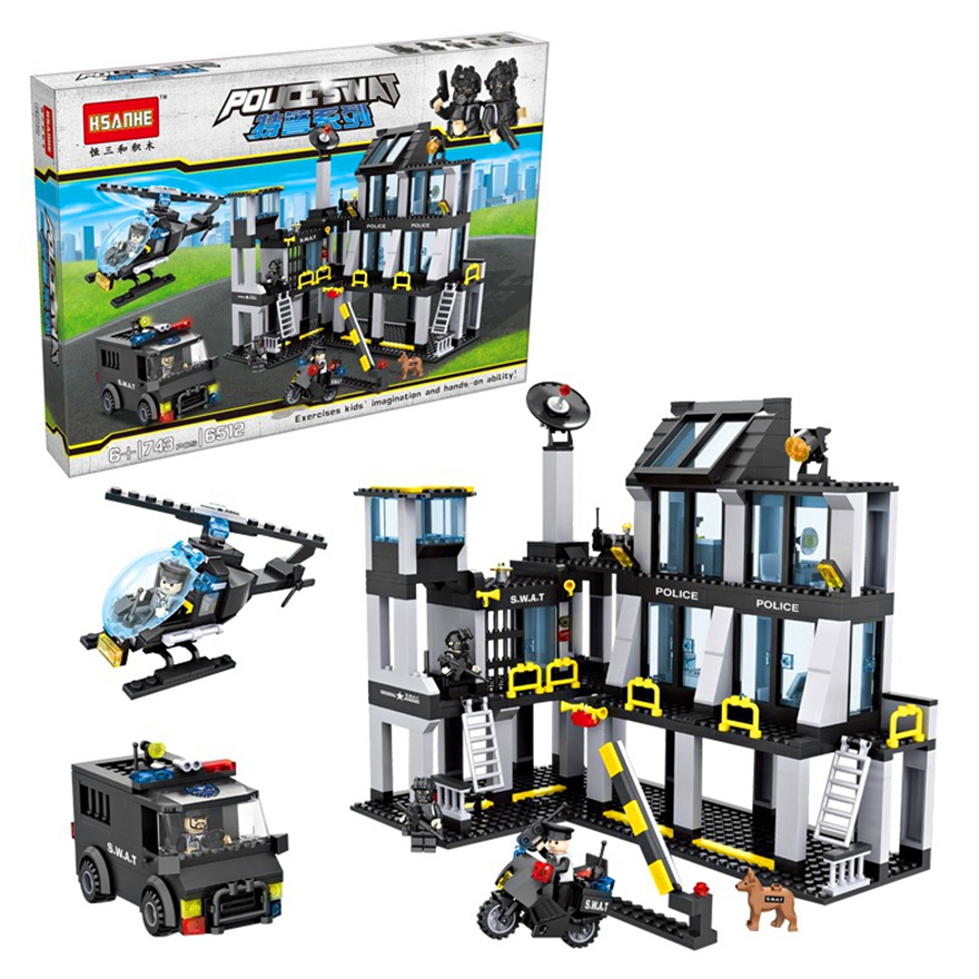 HSANHE 6512 Police Station Helicopter Truck SWAT Building Blocks Brick Compatible Technic Playmobil Toys For Children