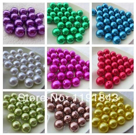 Kwoi Vita Mix Colorful  Chunky Fashion 20mm  100pcs A Lot , Loose Imitation Plastic Pearl For Chunky Beads  Jewelry