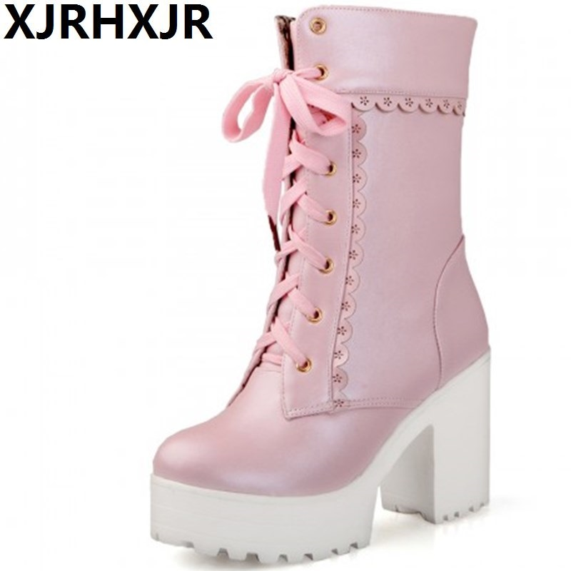 XJRHXJR White Students Soft Sister Lolita High-heeled Boots Cosplay Lace Lolita Sweet Lady Shoes Women Mid-calf Platform Boots