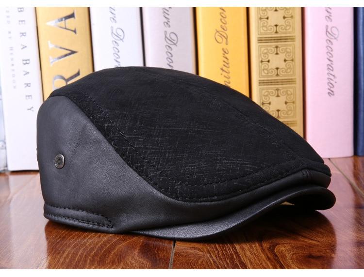 mens winter sheepskin leather baseball caps (12)