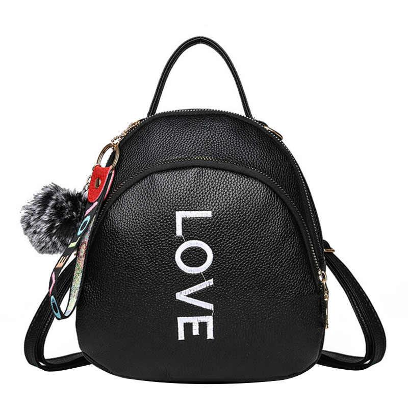 Mode Frauen Rucksack Qualität PU Leder Pelz Ball Candy Farbe College Schulter Tasche Süße Mädchen Kleine Weibliche Rucksäcke Mochila
