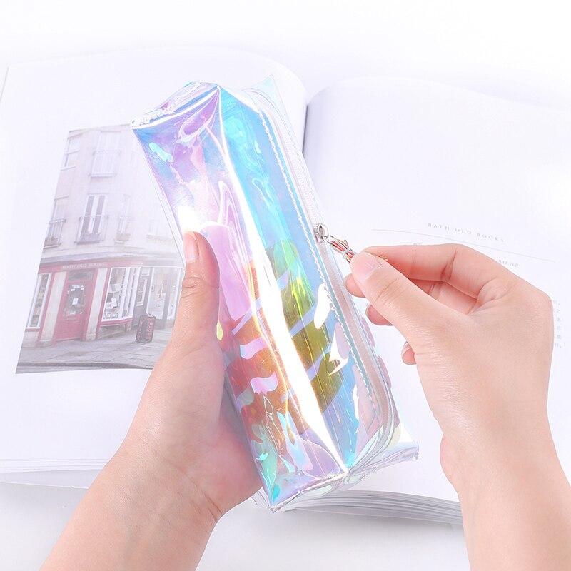 Creative Laser Clear Soft Clear Pencil Case School Pencil Cases Cute Stationery Tassels Pencil Bag Papelaria Estojo Escolar